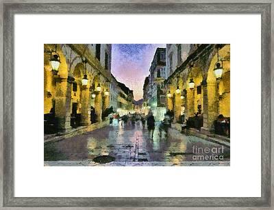 Old City Of Corfu During Dusk Time Framed Print