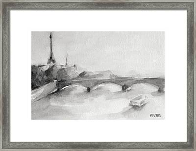 Painting Of Paris Bridge On The Seine With Eiffel Tower Framed Print by Beverly Brown
