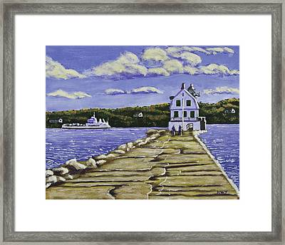 Rockland Breakwater Lighthouse In Maine Framed Print