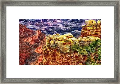 Painting Of The Grand Canyon Framed Print by Bob and Nadine Johnston