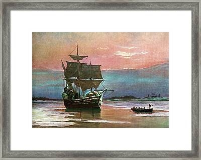 Painting Of The Ship The Mayflower 1620 Framed Print