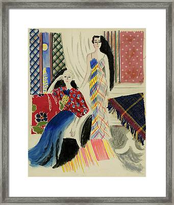 Painting Of Two Women In A Living Room Framed Print by R.S. Grafstrom