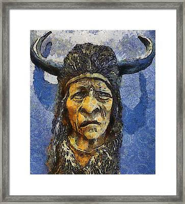 Painting Of Wood Spirit Carving Native American Indian Framed Print by Teara Na