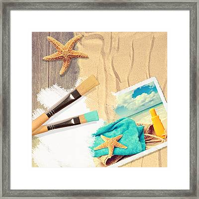Painting Summer Postcard Framed Print by Amanda Elwell