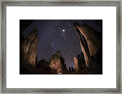 Painting The Needles Under The Geminids Meteor Shower Framed Print by Mike Berenson