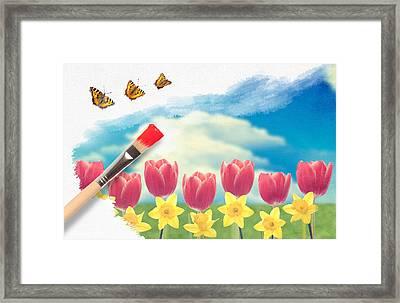 Painting Tulips Framed Print by Amanda Elwell