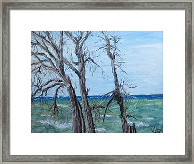 Framed Print featuring the painting Painting - Waiting For Spring - Lake Ontario by Judy Via-Wolff