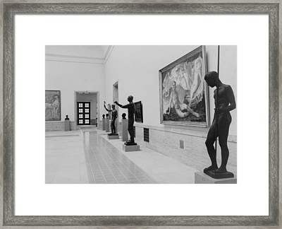 Paintings And Sculpture In A Gallery Framed Print by Everett