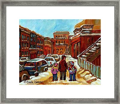 Paintings Of Baron Byng High School St Urbain A Winter Walk Down Memory Lane Montreal Art Carole  Framed Print