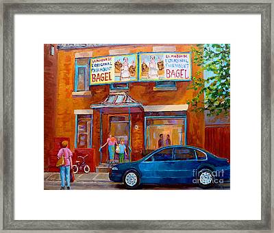 Paintings Of Montreal Fairmount Bagel Shop Framed Print