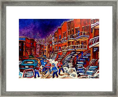 Paintings Of Montreal Hockey On Du Bullion Street Framed Print by Carole Spandau