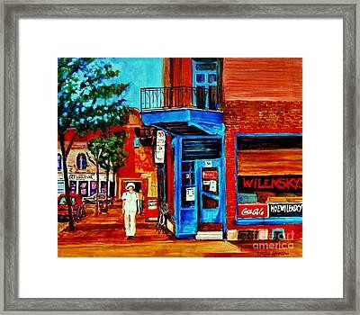 Paintings Of Montreal Memories Moe Wilenskys Famous Corner Deli  Montreal Spring City Scene Framed Print by Carole Spandau