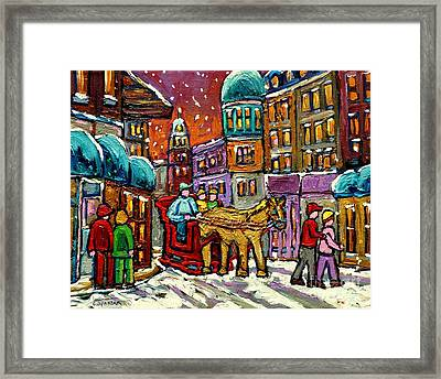 Paintings Of Old Quebec Magical Vieux Port Montreal City Scenes Caleche In Winter Carole Spandau Framed Print by Carole Spandau