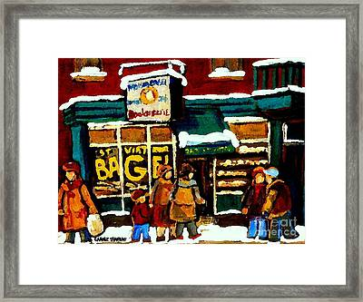 Paintings Of St Viateur Bagel Bakery Montreal Depanneur Deli Boulangerie Art Cityscene C Spandau Framed Print by Carole Spandau