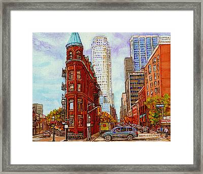 Paintings Of Toronto The Flat Iron Building Front Street And Church Toronto Skyline Art C Spandau Framed Print by Carole Spandau
