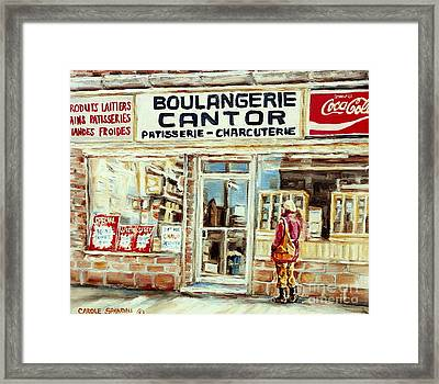 Paintings Of Vintage Montreal City Scenes Cantors Bakery West End Montreal Framed Print