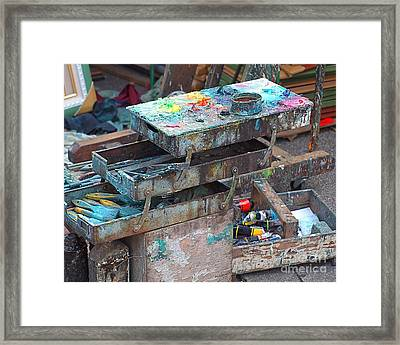 Paints And Brushes Of An Outdoor Painter Framed Print by Yali Shi