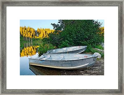 Pair Of Boats On A Lake In Mammoth Lakes During Sunrise In California Framed Print by Jamie Pham