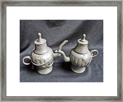 Pair Of Decorated Pewter Teapots Framed Print by Anonymous