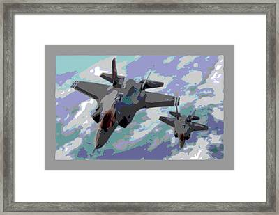 Pair Of F-35 Lightenings In Formation Enhanced Framed Print
