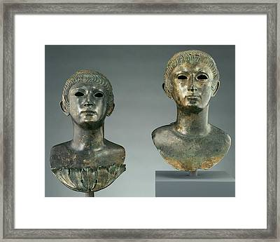 Pair Of Portrait Busts Of Youths And Two Marble Eyes Framed Print by Litz Collection