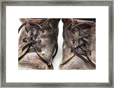 Pair Of Well Used Dirty Work Boots Framed Print by Donald  Erickson