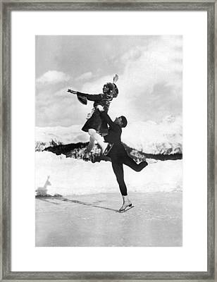 Pairs Skaters Doing A Lift Framed Print by Underwood Archives