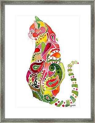 Paisley Cat 2 Framed Print by Jo Lynch