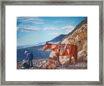 Paiute Boy At Walker Lake Framed Print by Joseph Juvenal
