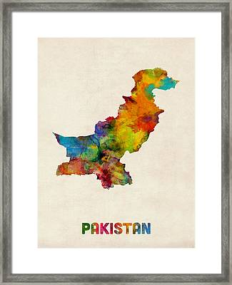 Pakistan Watercolor Map Framed Print by Michael Tompsett