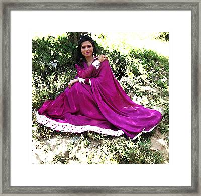 Pakistani Woman In Flowing Dress Framed Print