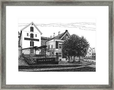 Framed Print featuring the drawing Pakkhuset by Janet King