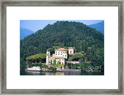 Framed Print featuring the photograph Palace At Lake Como Italy by Greta Corens
