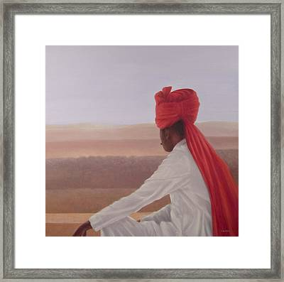 Palace Guard, Jaipur Framed Print by Lincoln Seligman