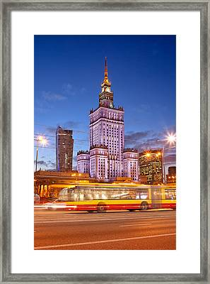 Palace Of Culture And Science In Warsaw At Dusk Framed Print