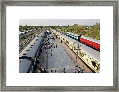 Palace On Wheels Train Parked At Train Framed Print