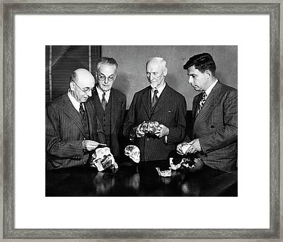 Palaeontologists Examining Skulls Framed Print by American Philosophical Society