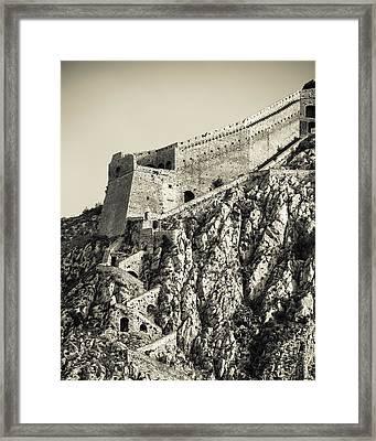 Palamidi Fortress Stairs Framed Print by David Waldo