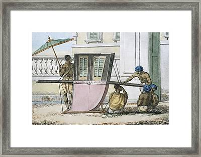 Palanquin Seat, From The Manners Framed Print by Franz Balthazar Solvyns