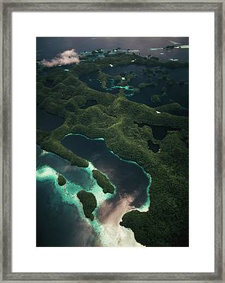 Palau, Micronesia, Aerial View Of Rock Framed Print by Stuart Westmorland