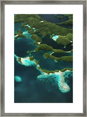 Palau, Micronesia, Rock Islands, Aerial Framed Print by Stuart Westmorland