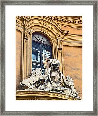 Palazzo Lions Framed Print by Cheryl Del Toro