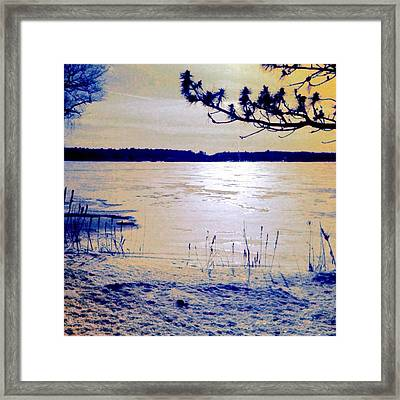 Pale Apricot Light Over Lake Ice - Square Framed Print
