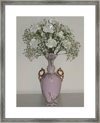 Pale Vase White Flowers Framed Print