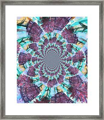 Palette Knife Flowers Kaleidoscope Mandela Framed Print