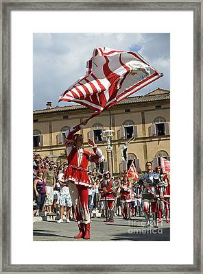 Palio Parade On Piazza Del Duomo Framed Print