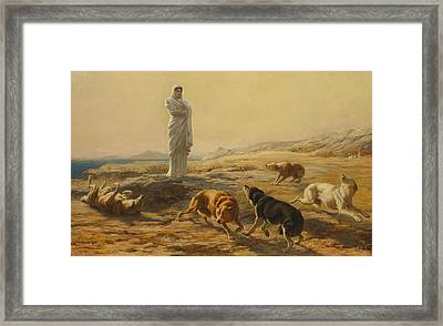 Pallas Athena And The Herdsmans Dogs Framed Print