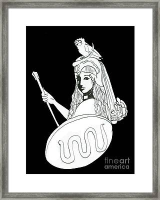 Pallas Athena Ink Drawing With Attributes Framed Print by Christina Rahm