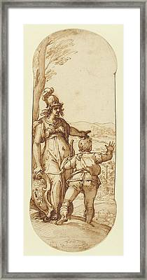 Pallas Athena Shows Taddeo The Prospect Of Rome Federico Framed Print by Litz Collection