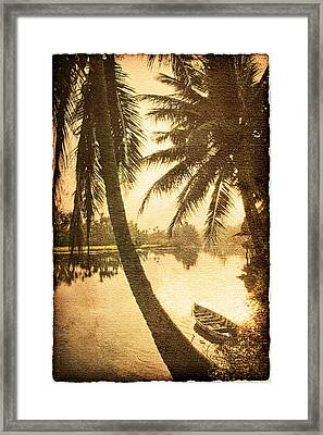 Palm And Boat Framed Print